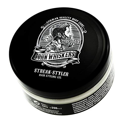 John Whiskers Streak-Styler Haargel - Made in Germany - Hair Styling Gel für starken und strukturierten Halt - 200ml XXL