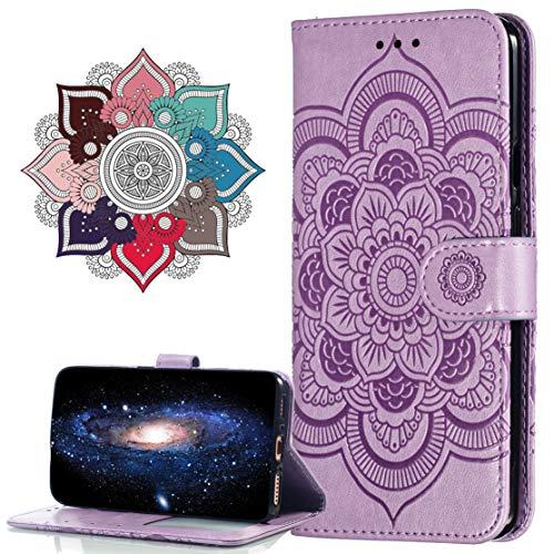 Hülle Kompatibel mit Moto E5 Play Go, Premium Leder Flip Schutzhülle [Standfunktion] [Kartenfächern] PU-Leder Schutzhülle Brieftasche Handyhülle für Motorola Moto E5 Play Go. LD Mandala Purple