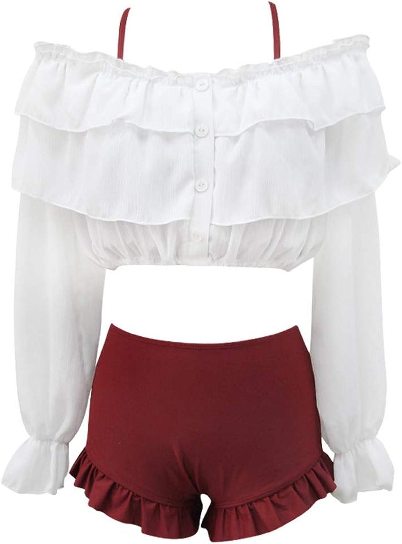 Girl Sweet Split Swimsuit Female ThreePiece White LongSleeved Blouse FlatAngle High Waist Bikini Hot Spring Seaside Holiday Skirt (color   Red, Size   M)