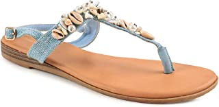 Chumbak Seashells T-Strap Sandals - 40 Tan
