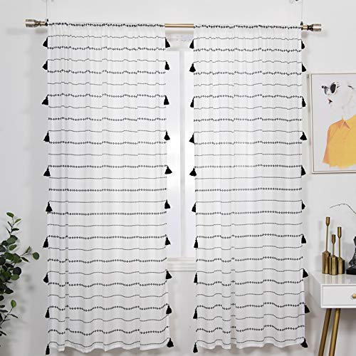 YoKii Boho Sheer Curtains for Bedroom 84-Inch 2 Panels, Chiffon Voile Tassel Window Curtain Panels Draperies Semi-Transparent Vintage Black and White Striped Room Decor (Pairs 52W x 84L, Black)