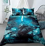 JBHURF Multifunctional bed cover digital printing three-piece bed three-piece bedding bed cover 100% polyester fiber double jacket cover pillowcase (including quilt cover * 1 pillowcase * 2)