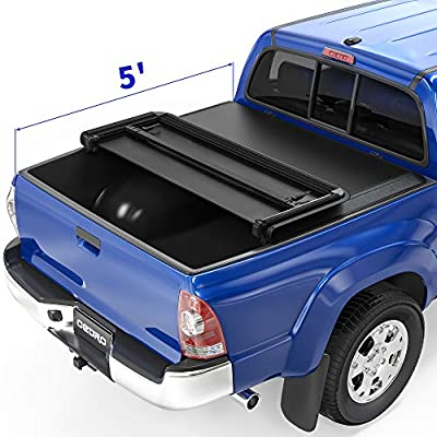 oEdRo Upgraded Soft Tri-fold Truck Bed Tonneau Cover On Top Compatible with 2005-2015 Toyota Tacoma with 5ft Bed, Fleetside