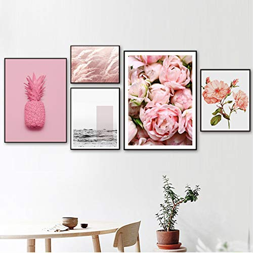 SDFSD Pink Pineapple Rose Peony Reed Sea Quotes Wall Art Canvas Painting Nordic Posters and Prints Wall Pictures For Living Room Decor X 5pcs