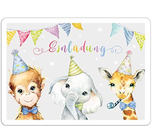 artpin® 10x EINLADUNGSKARTEN für Party und Kindergeburtstag - Geburtstagseinladungen,Einschulung EINLADUNG für Jungen Mädchen zum Geburtstag, Kinderparty - Dschungeltiere P65
