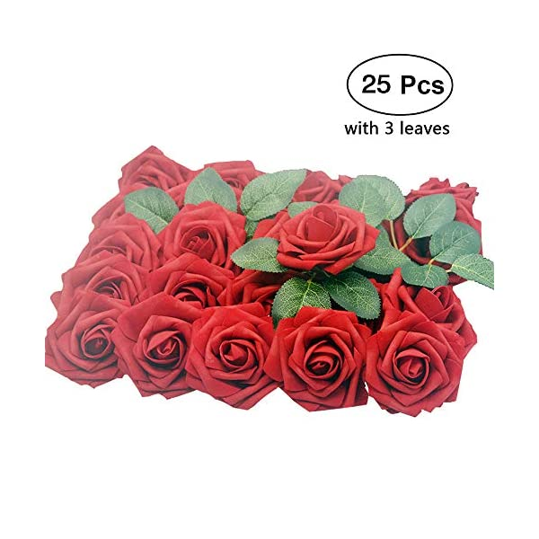 Lmeison Artificial Flower Rose Christmas Tree Decorative, Real Looking Artificial Roses w/Stem for Bridal Wedding Bouquets Centerpieces Baby Shower DIY Party Home Decor