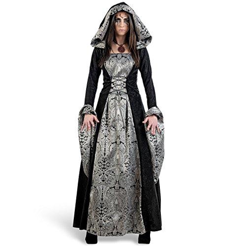 Costume de Reine médiévale pour Le Carnaval, Robe Gothique Sexy avec Capuche, Taille Argent - pour Dame - Noir - S