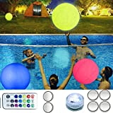 Pool Toy 16'' Inflatable LED Light up Beach Ball, 13 Light Colors Glow Ball with 4 Modes, Waterproof Volleyball Accessories Pool Games for Kids Great for Beach Pool Party Outdoor Games Decorations