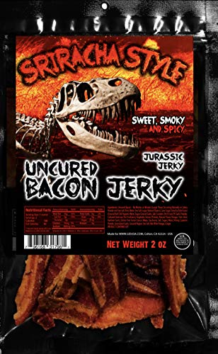 Sriracha Hot Sauce Uncured Bacon Jerky - JURASSIC JERKY''S Special Bacon Jerky with Amazing taste, MSG-Free Spicy meat Snacks - Keto Food on the Go This bacon packs a punch, the heat comes from genuine Sriracha Hot Sauce! Great protein boost for the gym, office or on the go! - 2 oz