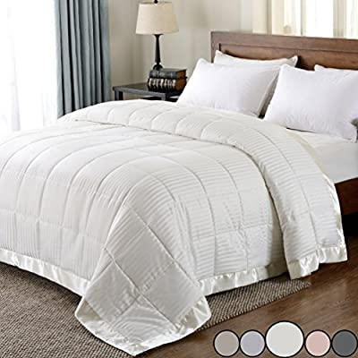 downluxe Lightweight Down Alternative Blanket with Satin Trim, King, Ivory, 90 X 108 Inch