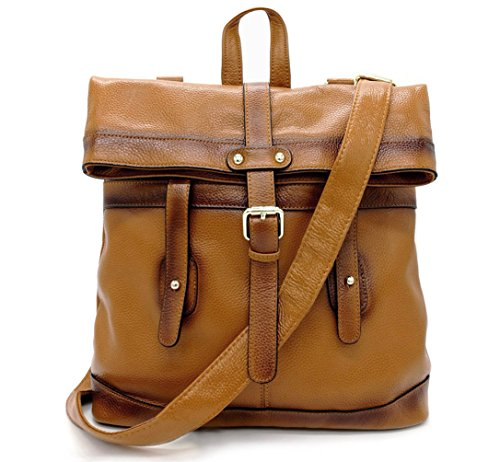 La Poet Women's Genuine Leather Convertible Shoulder Crossbody Bag Tote Backpack