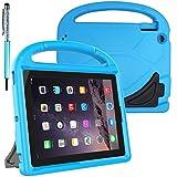 FineGood Funda protectora infantil para tablet Apple iPad 2 3 4 de 9,7 pulgadas, convertible ligera, a prueba de golpes, con asa de transporte y soporte, con lápiz capacitivo, color azul