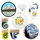 Moyisea Embroidery Starter Kit for Adults and Kids, 3 Pack Cross Stitch Kit Include Flowers, Snow Mountain and Van Gogh's Starry Night Pattern, Stamped Embroidery Kits