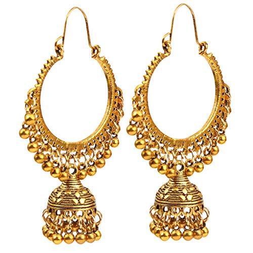 Garispace Retro indischen Bollywood Bell Quaste Ohrringe Schmuck Boho Chic ethnischen Stil Übertreibung baumeln Ohrringe Vintage Antik hohlen Ohrringe Schmuck,Gold