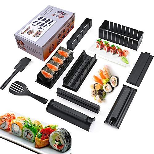 Sushi Maker Kit, 10 Pezzi Kit Sushi Completo Plastica Sushi Making Tool 8 Uniche Forme Sushi Stampo, Sushi Roll Cuore, Triangolo, Quadrato,DIY Sushi Set di Strumenti per Sushi (nero)