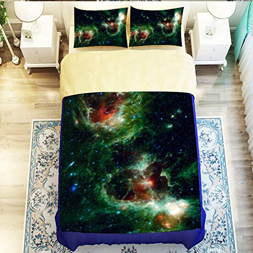 zzkds Nebula Star Funda de edredón de Cuatro Piezas Ropa de Cama 3D misteriosa Cubierta de edredón de Nebulosa 1.8x2.2m Hojas 2.0x2.4m