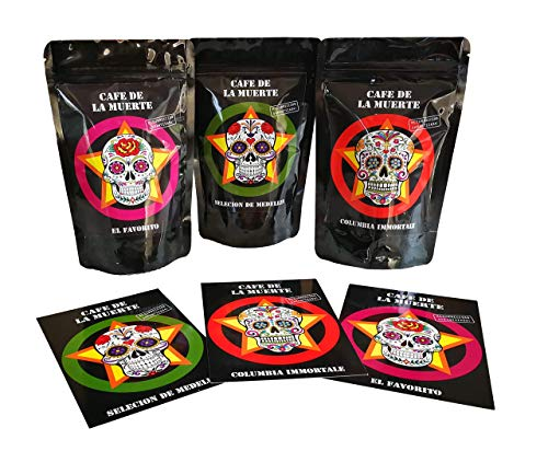 Cafe de la muerte Geschenkset | Starker Kaffee Starkes Design | Tolles Geschenk nicht nur für Männer | Trommelröstung ganze Kaffeebohnen | Mit toller Karte