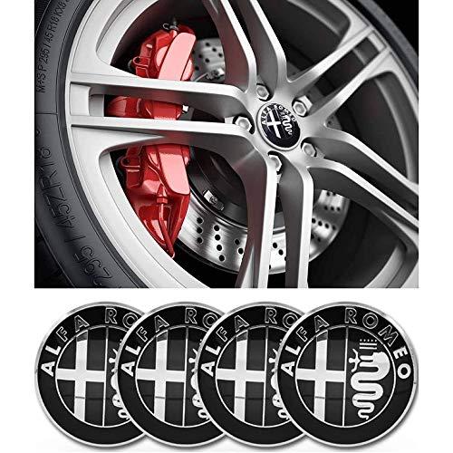XIARUI 4 Piezas de Rueda de Coche Cubierta Central, Pegatina de Aluminio para la Insignia Ajuste del Polvo, para Alfa Romeo 50mm