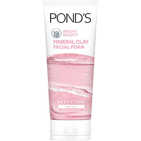 POND'S Bright Beauty Mineral Clay Vitamin B3, 4X Oil Absorbing, Brightening, For Oil Free Instant Glow, Face Wash 90 g