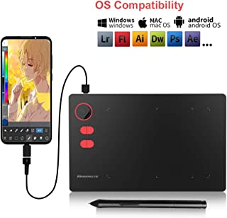 10moons G20 Graphic Tablet 8192 Levels Digital Drawing Tablet with Roller No Need Charge Pen Tablet Support Android Phone