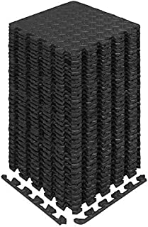 Yes4All Interlocking Exercise Foam Mats with Border – Cover 12 & 36 SQ. FT (Black or Gray)