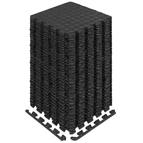 Yes4All Interlocking Exercise Foam Mats with Border – Interlocking Floor Mats for Gym Equipment – Eva Interlocking Floor Tiles (Black)