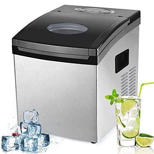 SHKUU Ice Cube Maker 1.5L Máquina Hielo encimera, 2 tamaños Cubitos Hielo 12-20 Minutos, 10-15 kg Hielo 24 H, Pantalla LCD, no Requiere plomería Ideal para Barra Cocina casera