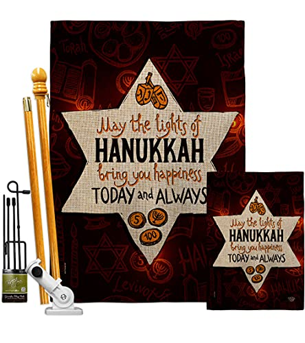 Ornament Collection Lights of Hanukkah Burlap Garden House Flag-Kit Winter Candle Bonsai Menorah Jewish Chanukah David Decoration Banner Small Yard Gift Double-Sided, Made in USA