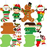 24 Juegos Kit de Manualidades de Adorno de Calcetín Navideño Decoraciones Manualidades de Navidad de Elfos Pan de Jengibre Muñeco de Nieve Papá Noel Adorno Colgante de Bricolaje con 24 Cuerdas