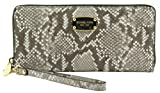 MICHAEL KORS Travel Continental Embossed Leather Python Wallet DK Sand