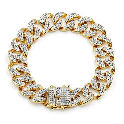 JINAO Pulsera de cadena cubana de Miami, chapada en oro de 18 quilates, con diamantes de imitación de 14 mm 20 cm