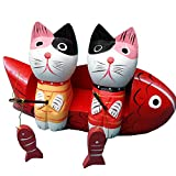 猫の置物 木製の置物 小猫釣り 木魚ソファ 猫セット 釣りをする猫 ギフト 贈り物 結婚記念日 転居 (猫セット)