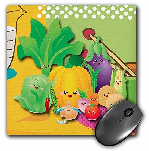 3drose LLC 20,3x 20,3x 0,6cm Maus Pad, Gemüse-Lustigen Figuren Kürbis, Salat, Tomaten und Friends (MP 167163_ 1)