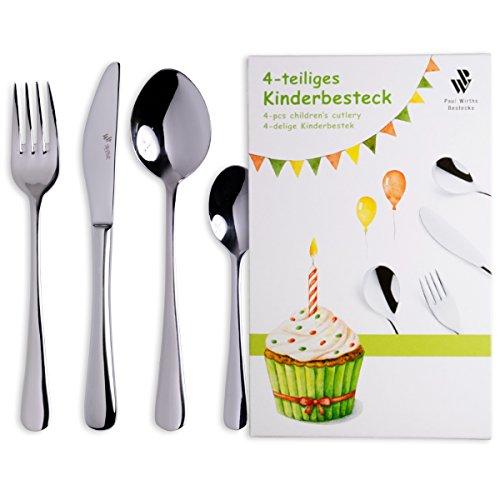 Paul Wirths Bestecke Kinderbesteck - Kids 4 teilig inkl. Gravur KB023