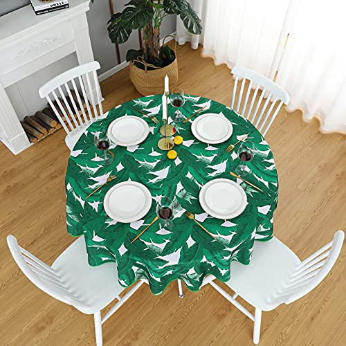 Dreaming Casa - Mantel redondo de algodón resistente y antimanchas, tela estampada, diseño de hoja de plátano, mesa de comedor, picnic, fiesta, jardín, fácil mantenimiento, 180 x 180 cm, verde