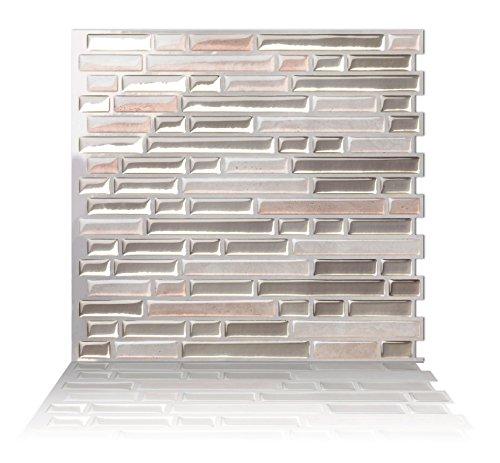 """Tic Tac Tiles Pelar anti moho y la toma mural pared posterior del azulejo en la arena de Como 5 10"""" x 10"""" Luz beige; La textura de color beige claro; Beige calido"""