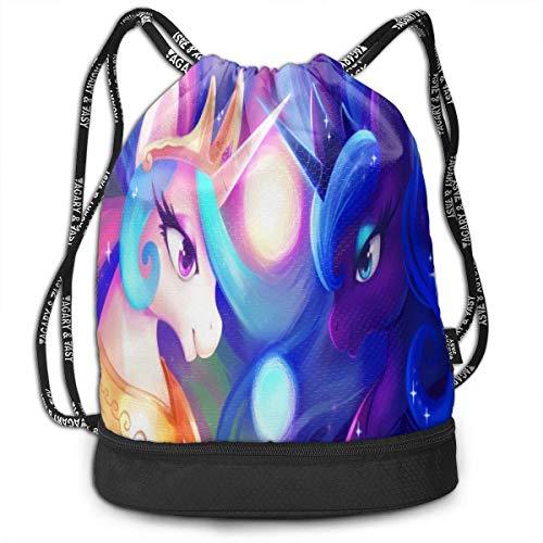My Little Pony Celestia and Luna - Bolsas de cordón multifunción, gran capacidad, ligera, fácil y portátil