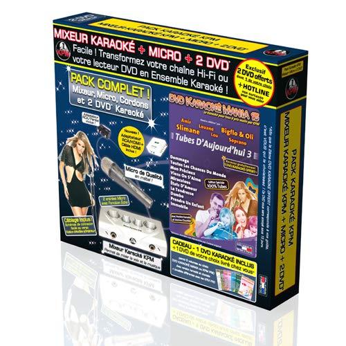 Pack Karaoké KPM Mixeur + 2 DVD + Micro + Adaptateur RCA/HDMI + Câble HDMI 1.5M - Tubes D'Aujourd'hui 2018 & 2019