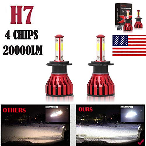2Pcs H7 LED Headlight Bulbs Conversion Kit Car Headlamp 20000LM 6000K Cool White Hi/Lo Beam DRL Fog Light Replacement - Plug and Play
