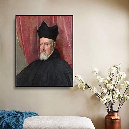 Póster abstracto Arte Decoración de la pared - Retrato del arzobispo Fernando de Valdes - Diego Velázquez 48 x 60 cm - Pintura al óleo abstracta sobre lienzo Pared familiar