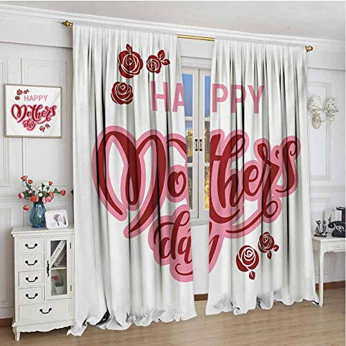 GUUVOR Quote Heat Insulation Curtain Happy Mothers Day Greeting Text in Pink and Red Shades with Rose Blooms for Living Room or Bedroom W108 x L84 Inch Pale Pink Ruby and White