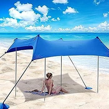 Tente De Plage Familiale, Parapluie De Plage Portable Léger, Parapluie De Plage Familial, Tente D'ombrage Légère avec Sac De Sable, Auvent pour L'extérieur Pêche Cam 10x10ft