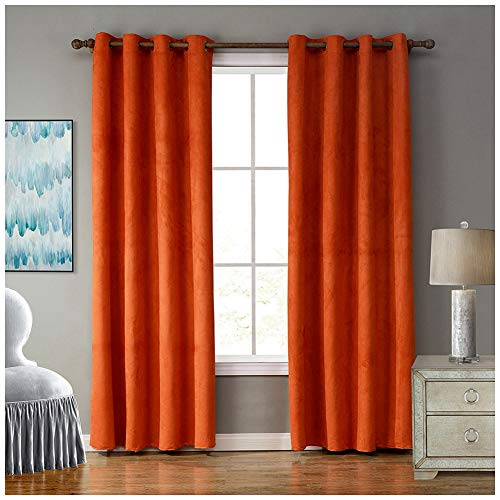 GUOCU Rideaux Occultants Plissés Decoration Chambre À Oeillets pour Salon Orange 132X213CM (1 Pièce)
