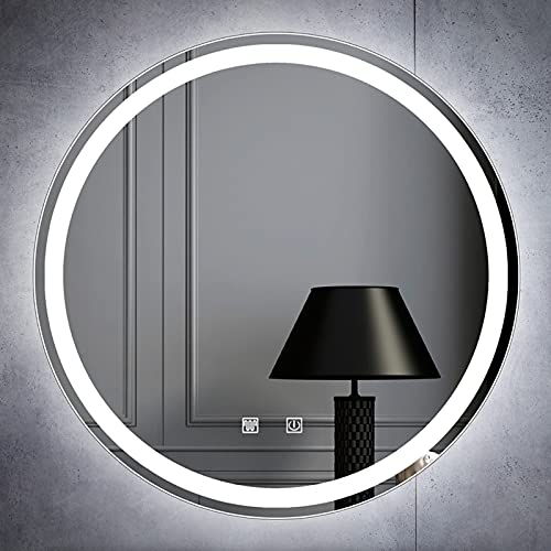 HHDD Espejo Retroiluminado Redondo Espejo de Baño LED Iluminado Antiniebla Montaje en Pared Espejo de Maquillaje Inteligente Interruptor Táctil Dimmble Sin Marco