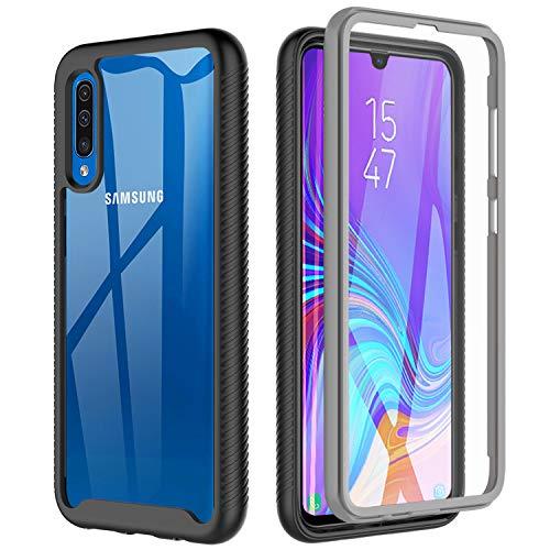 BESINPO Coque Samsung A70, Coque A70/ Coque A70S Antichoc Transparente 360 Degrés Protection complète du Corps Bumper TPU Case Anti-Rayures Housse pour Samsung Galaxy a70/A70S (Noir/Gris + Clair)