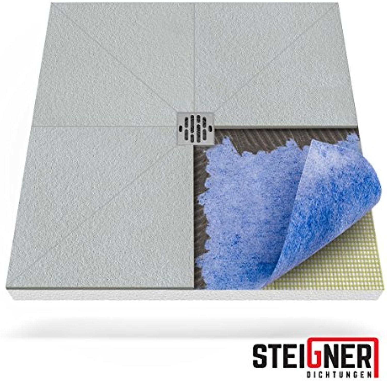 STEIGNER Duschelement inkl. DICHTFOLIE Duschboard befliesbar Punktablauf, 80x80 cm, EPS Bodenelement, Ablauf WAAGERECHT