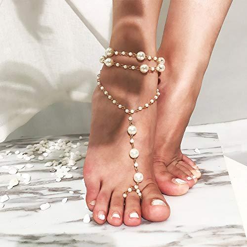 Anglacesmade Tobillera de perlas bohemias con anillo para el dedo del pie, sandalias descalzadas con cuentas para la playa, para mujeres y niñas