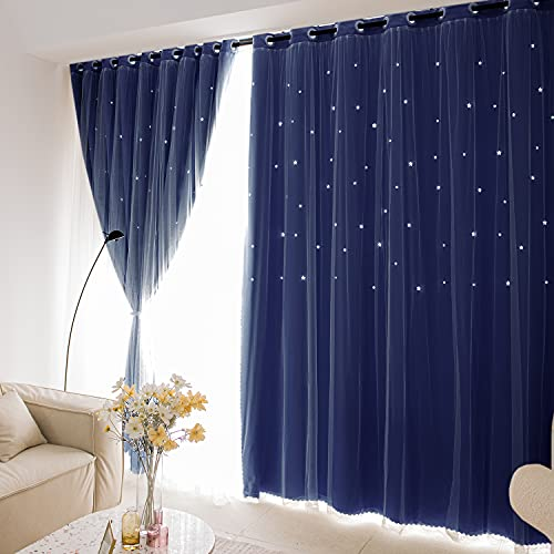 Unistar 2 Panels Stars Blackout and Sheer Curtains for Bedroom Boys Kids Baby Room, Double Layer Star Cut Out Living Room Window Curtains, W52 x L63 Inch Length, Navy Blue