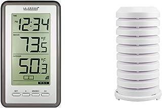 La Crosse Technology Indoor/Outdoor Temperature WS-9160U-IT Digital Thermometer, Titianium & 925-1418 Sensor Protection Sh...