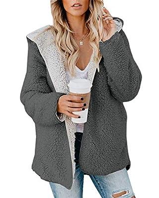 ReachMe Womens Oversized Sherpa Jacket Fuzzy Fleece Teddy Coat with Pockets Open Front Hooded Cardigan(Dark Grey,S) by ReachMe
